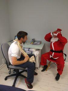Santa's back pain